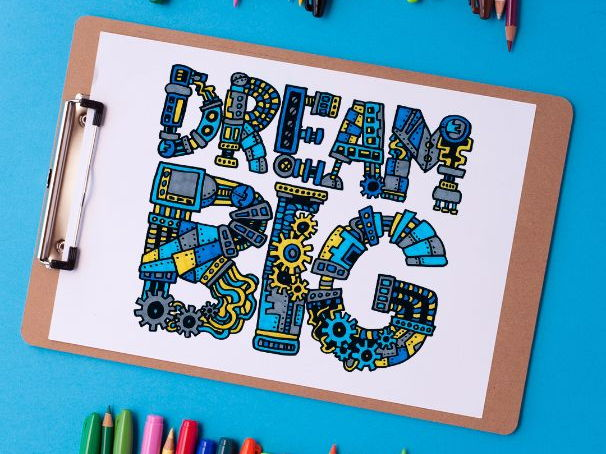 """Dream Big"" Coloring Page for Kids and Adults 