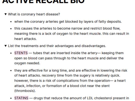 Active recall- diseases AQA GCSE BIOLOGY