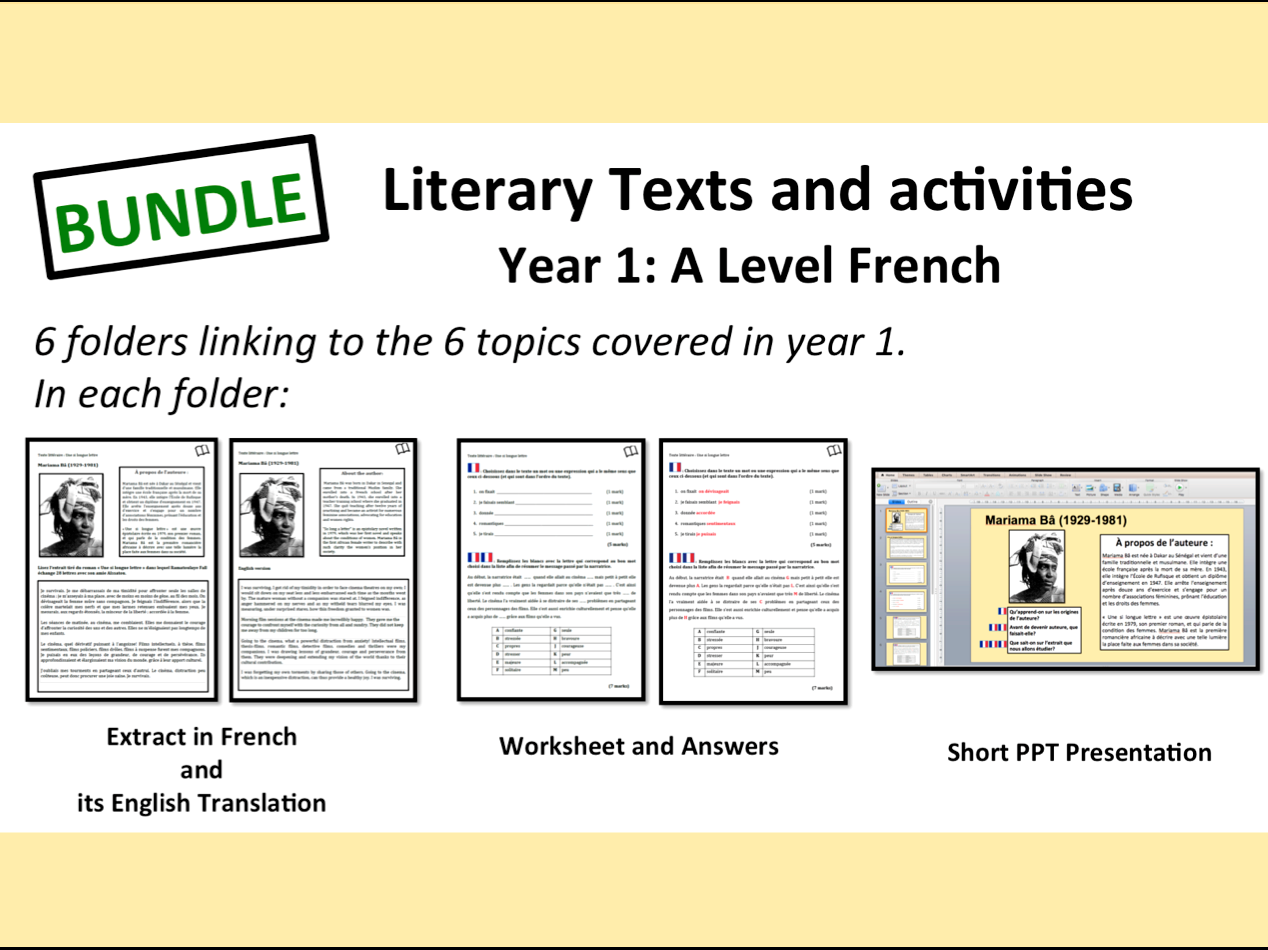 Literary Texts and Activities- A Level French- Year 1- BUNDLE