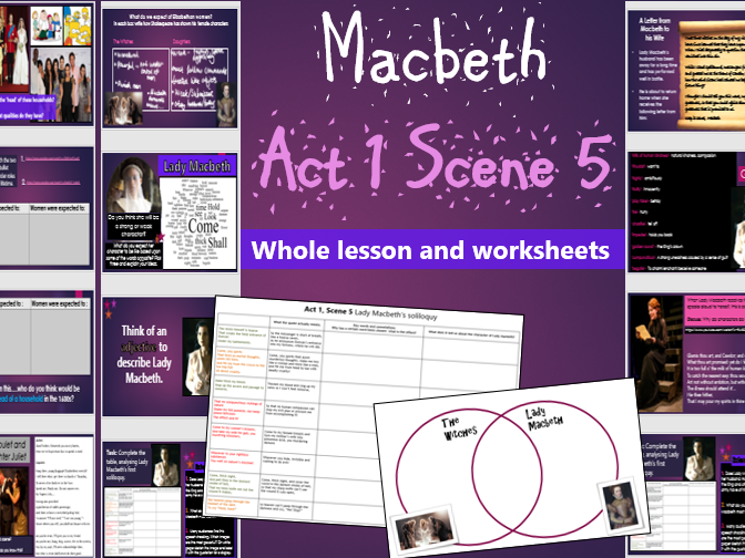 Macbeth Act 1 Scene 5 (Lady Macbeth soliloquy) Whole lesson and worksheets KS4