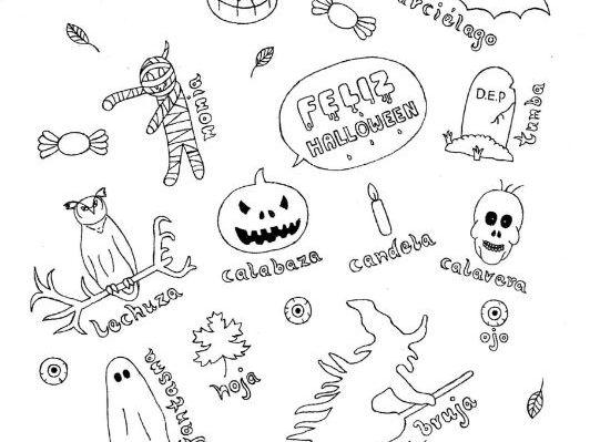 Spanish Halloween color and vocabulary sheet fun no prep worksheet
