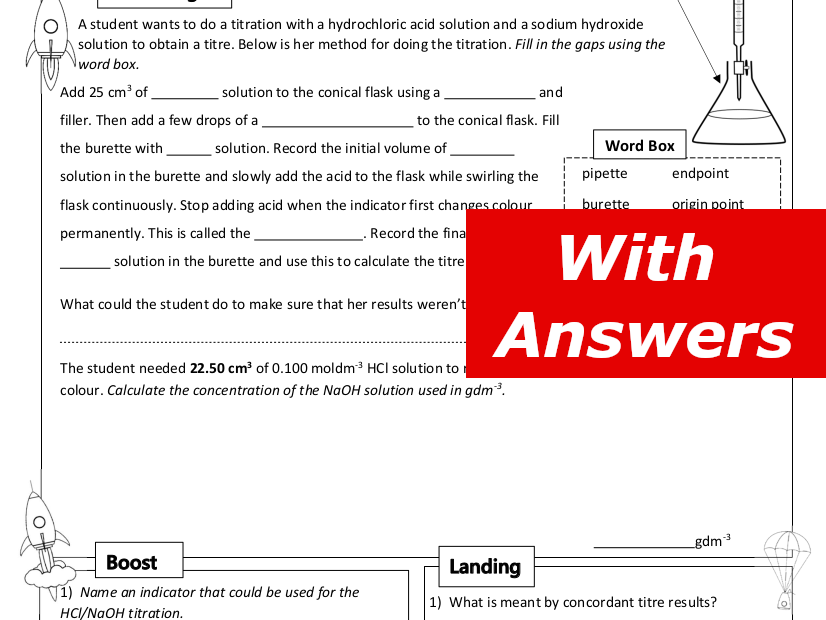 Titrations Home Learning Worksheet GCSE