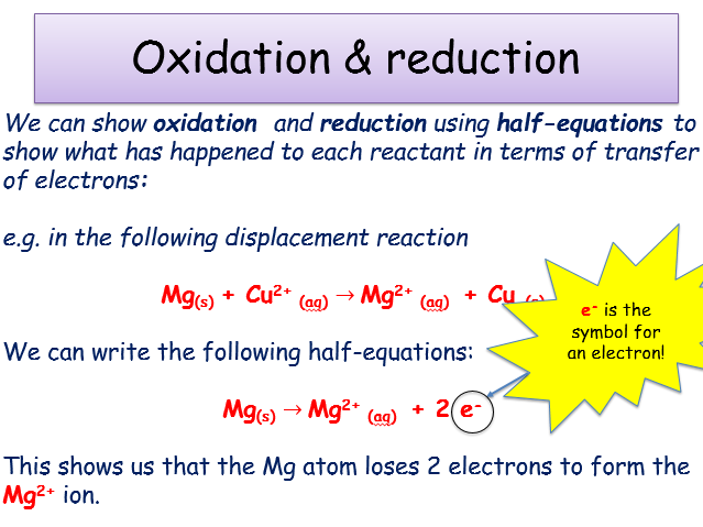Chemical changes 52 Displacement reactions teacher powerpoint – Oxidation Reduction Reactions Worksheet