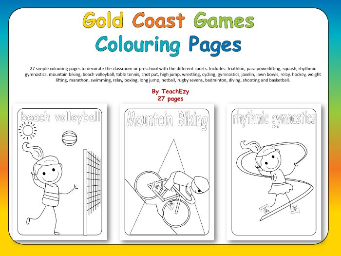 Gold Coast Games Colouring Pages