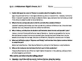 A Midsummer Night's Dream Quiz Set & Answer Key