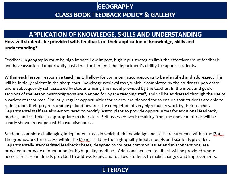 Departmental Classwork Book Policy
