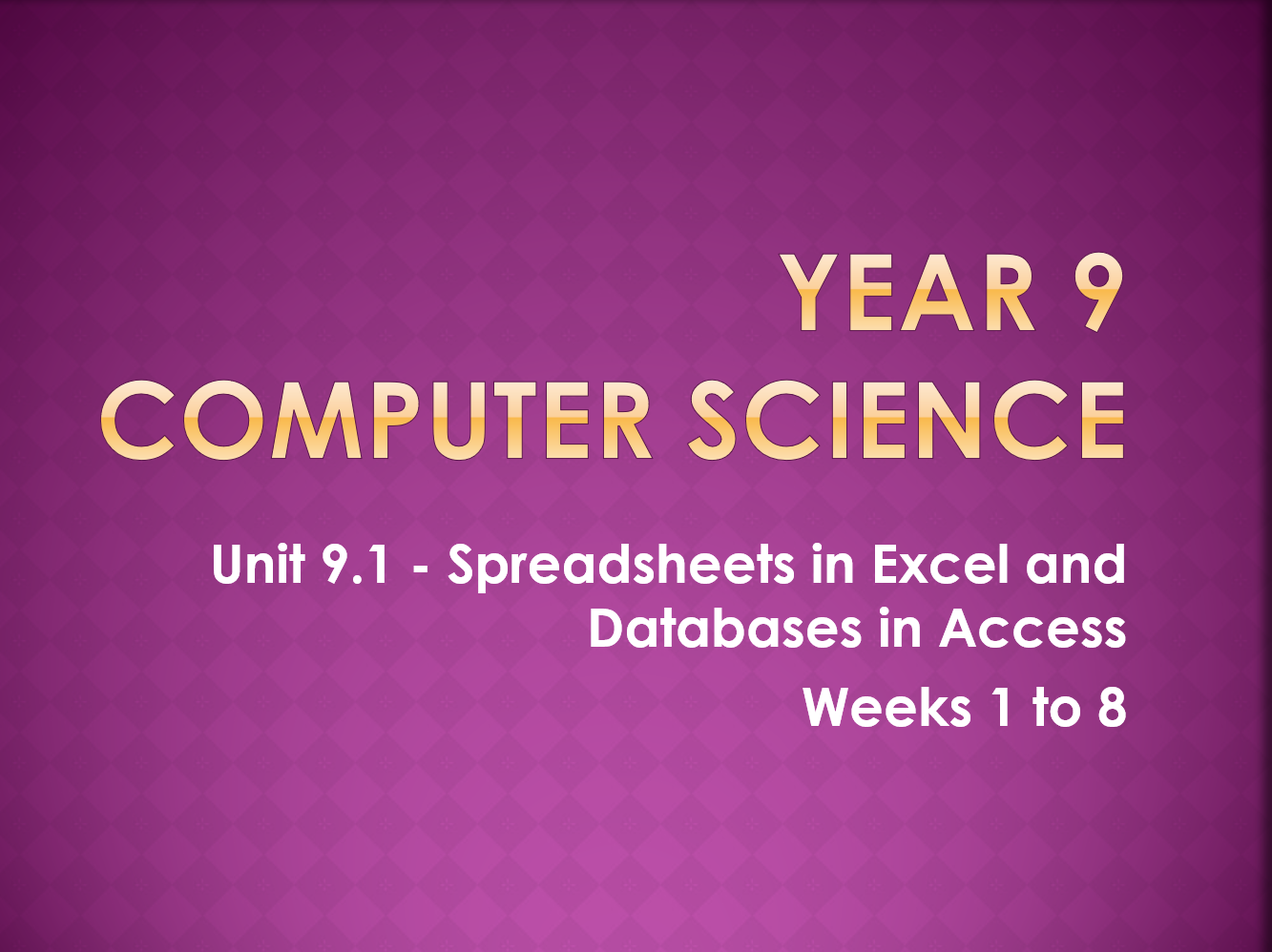 Complete Computer Science KS3 SOW: Introduction to Excel