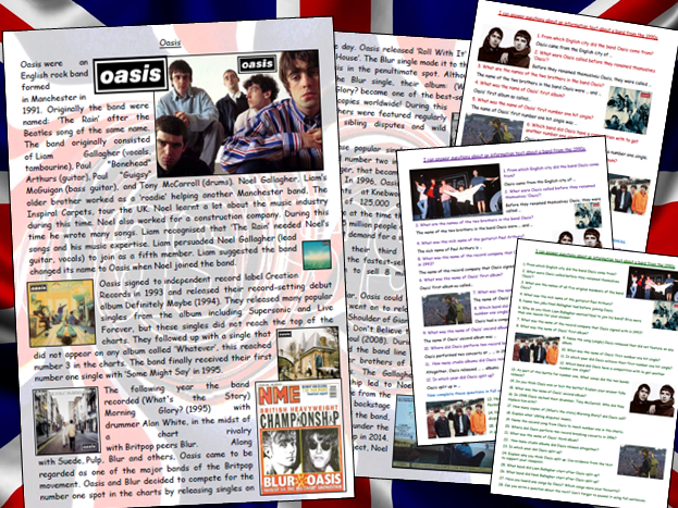 Oasis Comprehension Activity 1990s Information Biography