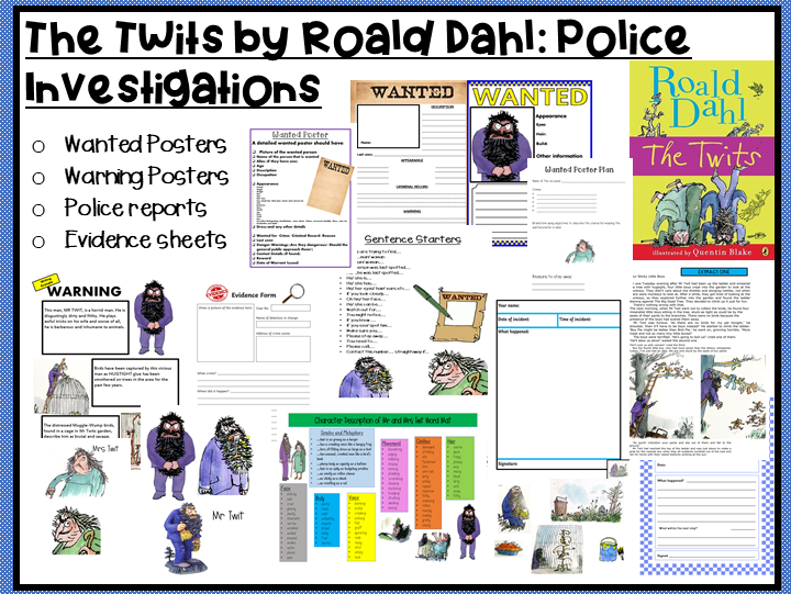 The Twits by Roald Dahl-Writing a: Wanted Poster, Warning Poster, Police Report or an Evidence Sheet