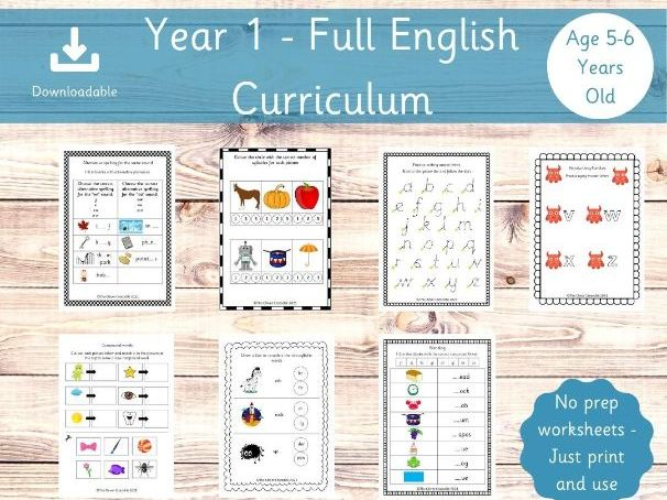 Year 1 Full English Curriculum - Printable worksheets - Key stage 1 English - Year 1 School