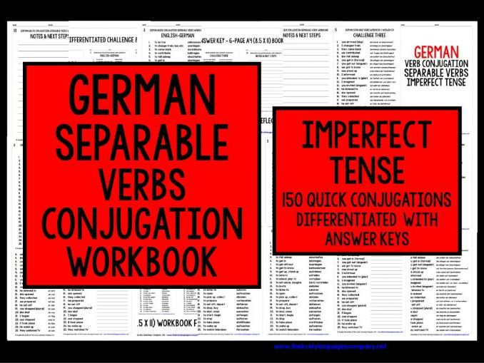GERMAN SEPARABLE VERBS IMPERFECT TENSE REVISION