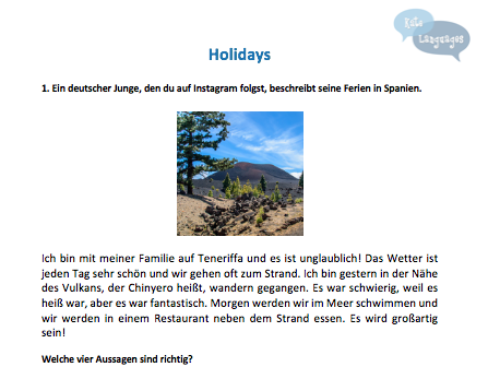 German - Holidays - New GCSE-style activities