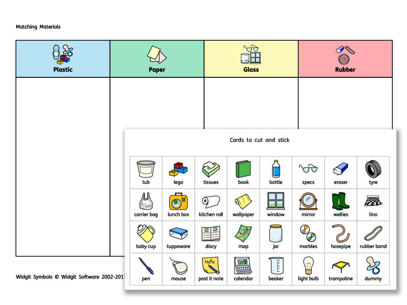 Widgit matching materials activity by widgit software for Waste material activity