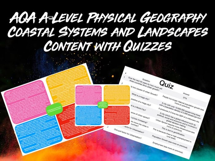 AQA A-LEVEL Geography Coastal Systems and Landscapes Content with Quiz