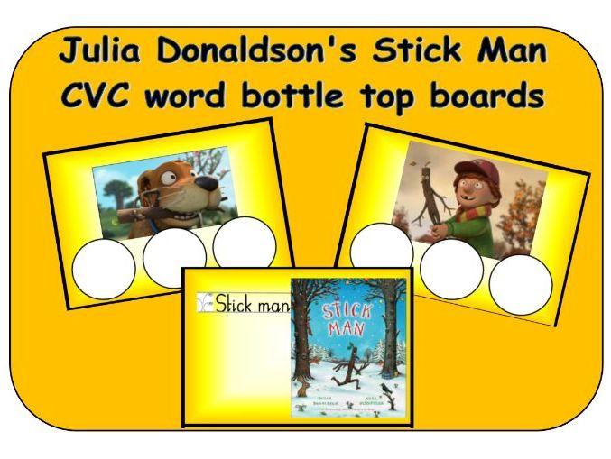 Julia Donaldson Stick Man - CVC word bottle top boards - phonics