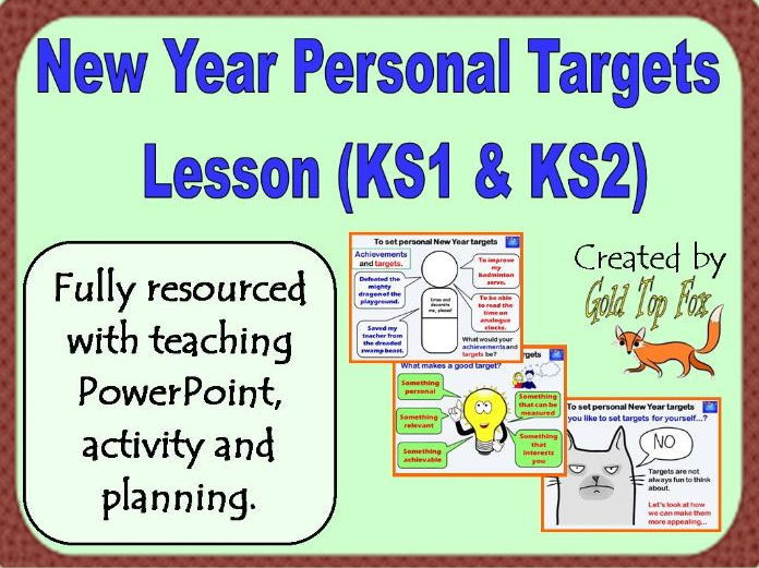 New Year Personal Targets Lesson for Primary School (2018)