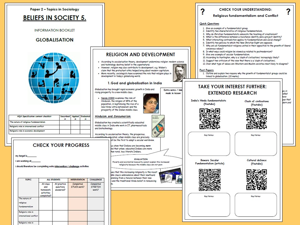 AQA A-level Sociology Beliefs in Society Booklet 5 - Globalisation