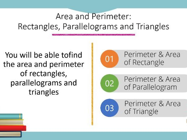 Area and Perimeter: Rectangles, Parallelograms and Triangles Powerpoint (Foundation GCSE)