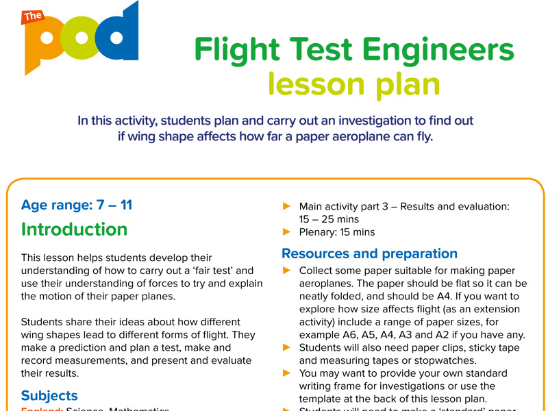Flight test engineers lesson plan