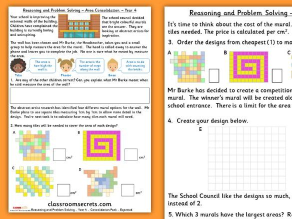 Area Consolidation Year 4 Spring Block 2 Reasoning and Problem Solving