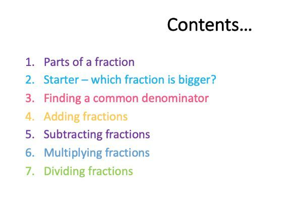 Fractions - add, subtract, divide & multiply