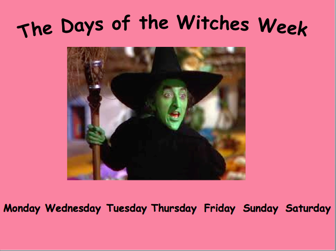 Days of the Week Introduction using witches (ks1)