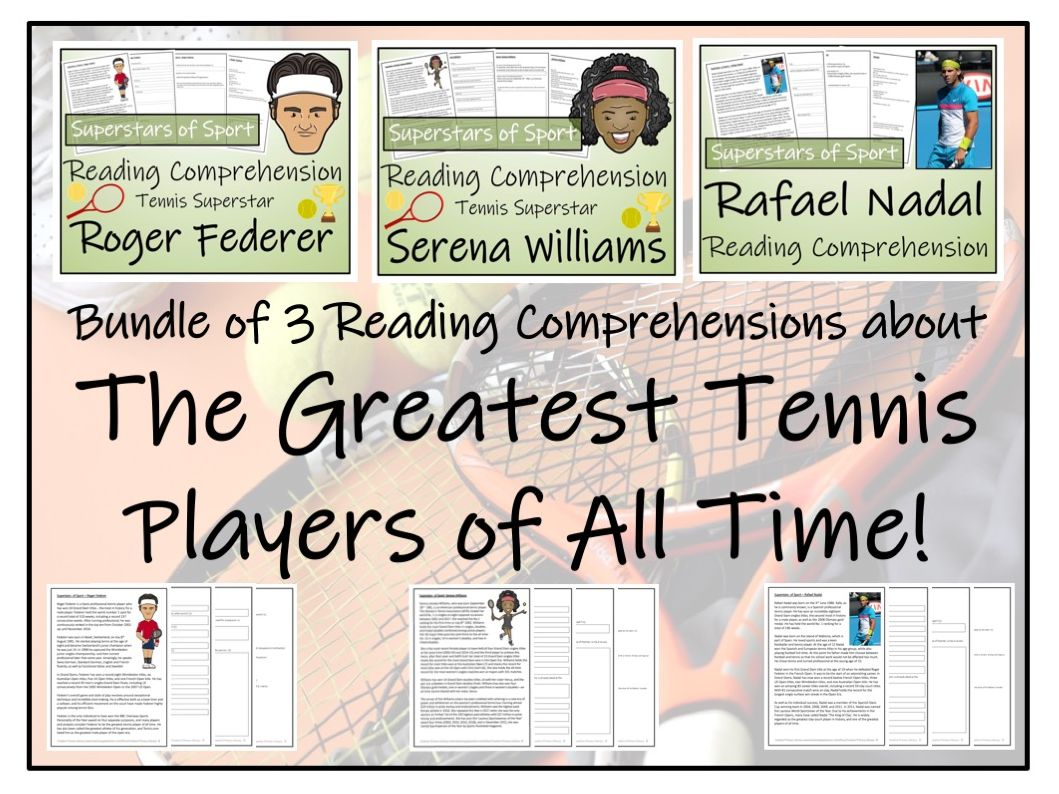 UKS2 Literacy - Greatest Tennis Players Bundle of Reading Comprehensions