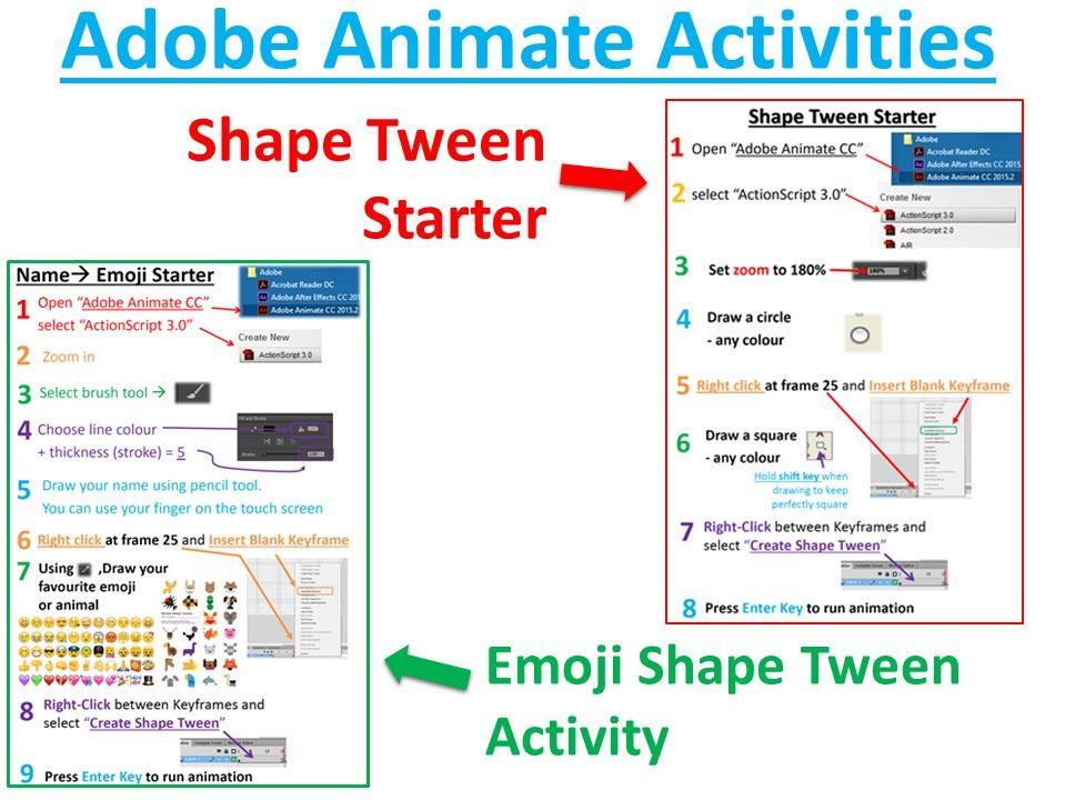 2 x Adobe Animate Guides - Emoji Shape Tween Animation