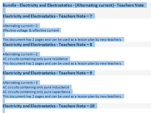 Bundle - Electricity and Electrostatics - (Alternating current) - Teachers Note