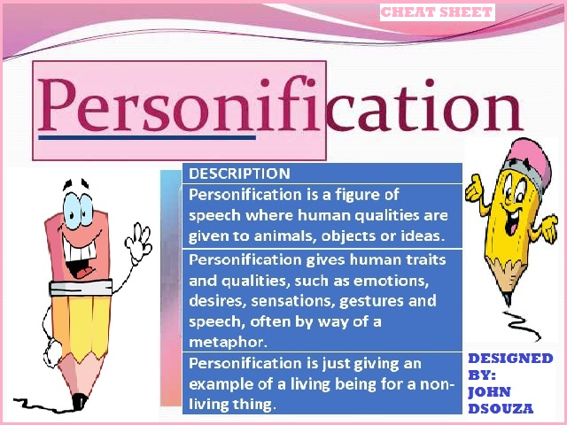 personification figure of speech handouts by john421969 teaching