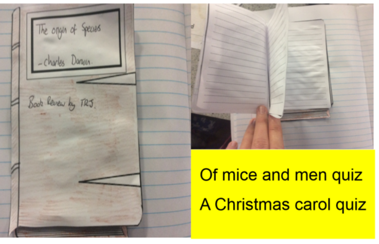 Of mice and men (Steinbeck)/Christmas Carol (Dickins) and book review foldable