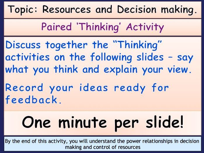 Sociology: Families and Households - Paired Thinking Activity