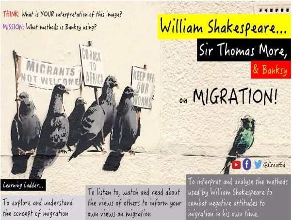 William Shakespeare, Sir Thomas More & Banksy on Migration & Equality,  GCSE Literature Enrichment.