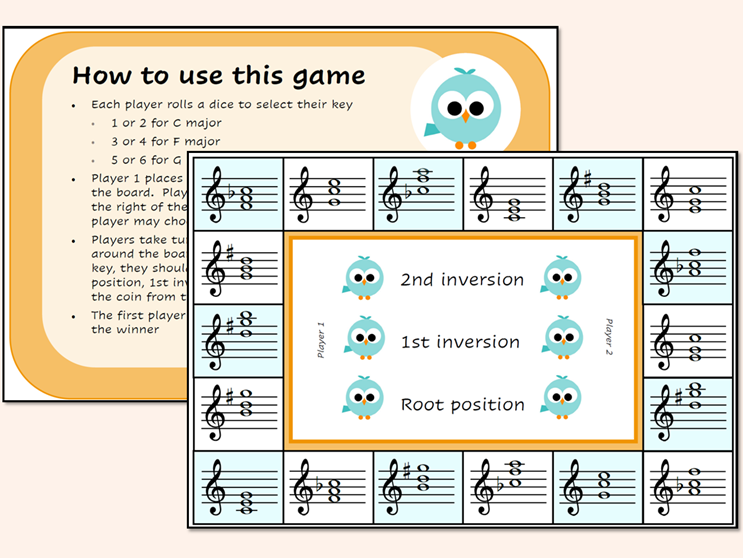 Music Chord Inversions Game C, F and G Major