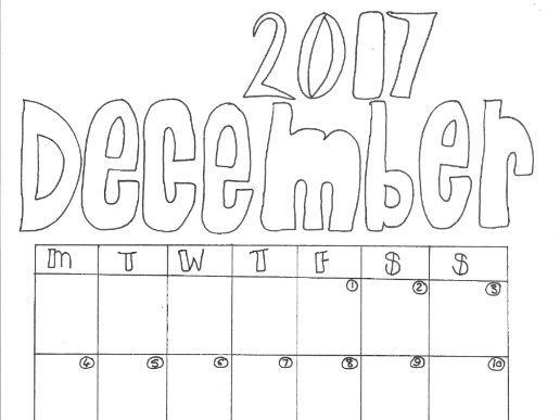 December Calendar Organiser and Colouring Sheet