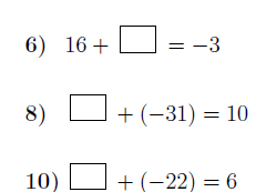 Addition of integers: Finding missing numbers worksheets (with solutions)