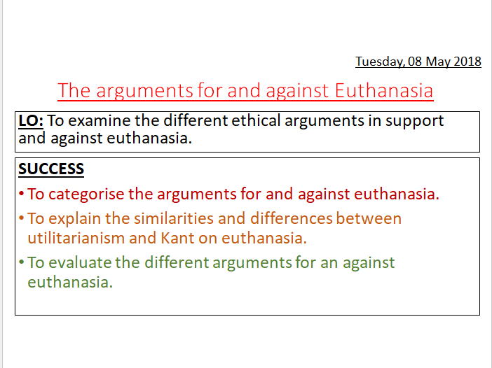 KANT AND UTILITARIANISM ON EUTHANASIA A-LEVEL
