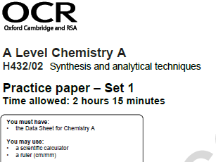 Self-assessment activity for OCR A level Chem Practice paper - Set 1, paper 2