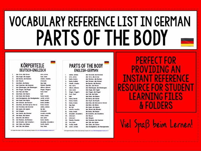 GERMAN VOCABULARY REFERENCE LIST - PARTS OF THE BODY
