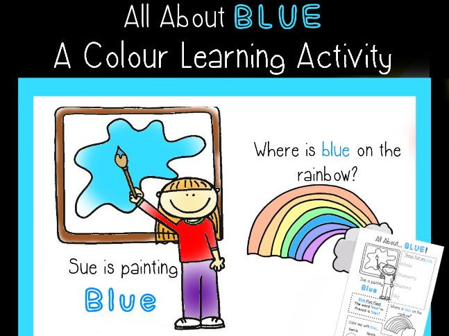 All About Blue - Learning about colours sheet