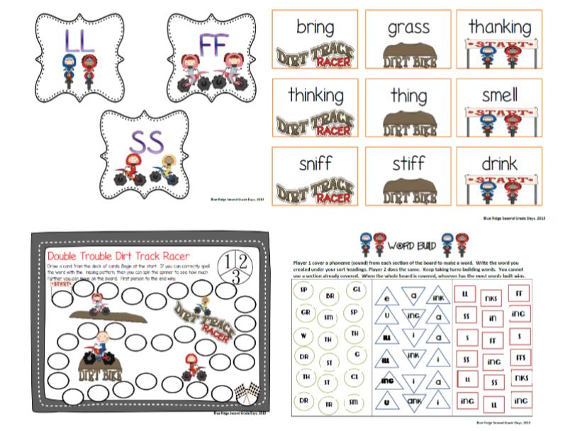 FF, LL, SS, NG, NK, ING Word Work Phonics Activities