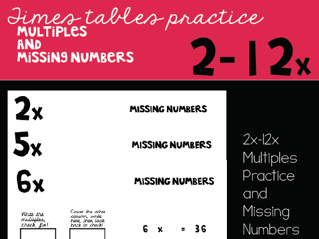 Multiples and Missing Number Sheets 2x-12x