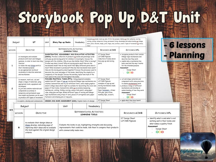 STORYBOOK POP UP D&T Unit - 6 Lessons