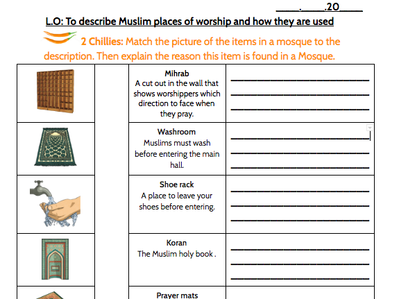 Describe Muslim Places of Worship and How they are Used