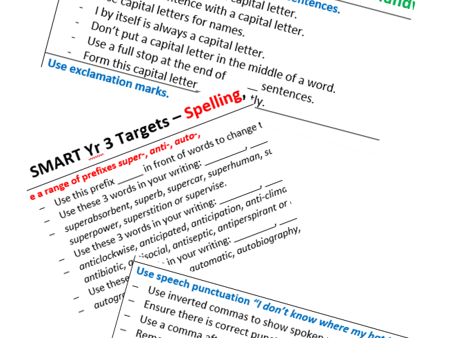 Whole School SMART Writing Targets New Curriculum