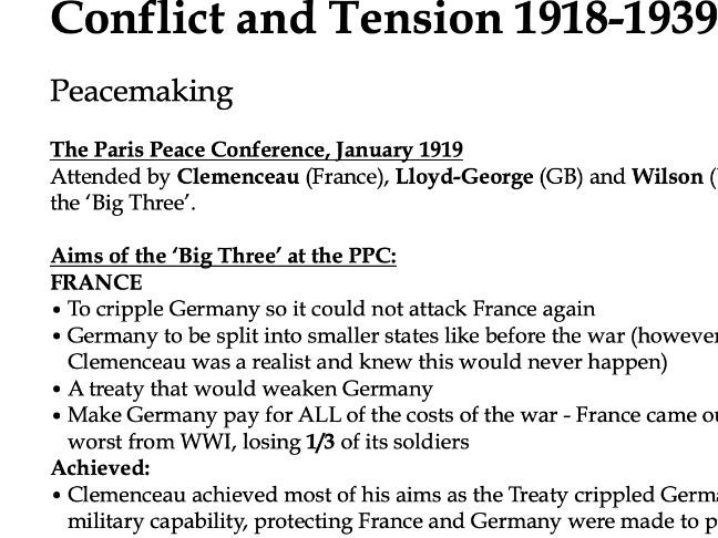 AQA Conflict and Tension 1918-1939