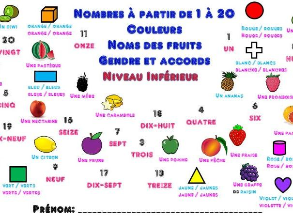 Primary French: Numbers 1-20, colours, gender and agreement (Lower level version)