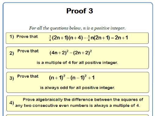Algebraic Proof 9-1 GCSE Maths Worksheet