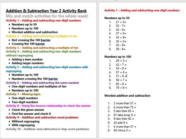 Addition, Subtraction & Inverse Year 2 Activity Bank (Differentiated)