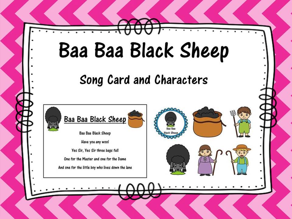 Baa Baa Black Sheep Song Card and Characters
